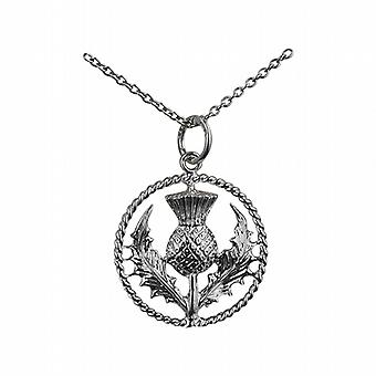 Silver 19mm Scottish Thistle Pendant with a twisted wire surround with a rolo Chain 24 inches