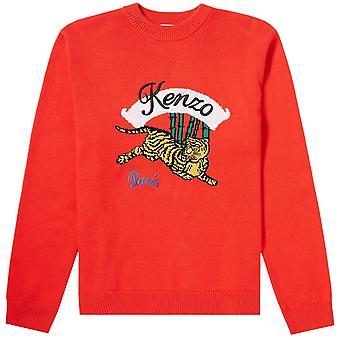 Kenzo hopping Tiger strikket jumper rød
