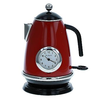 Miniature Red Round Kitchen Kettle Ornament Novelty Collectors Clock 9709