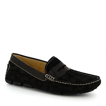 Mocassins à enfiler à la main de Leonardo Shoes hommes en cuir de daim noir