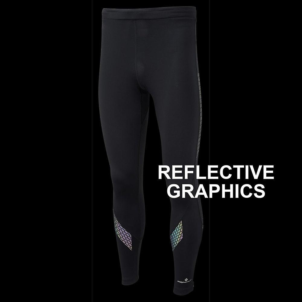 Ronhill Infinity Nightfall Mens Running Tights With Hi Vis Graphics Black/reflect