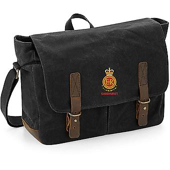 RMAS Royal Military Academy Sandhurst Name - Licensed British Army Embroidered Waxed Canvas Messenger Bag