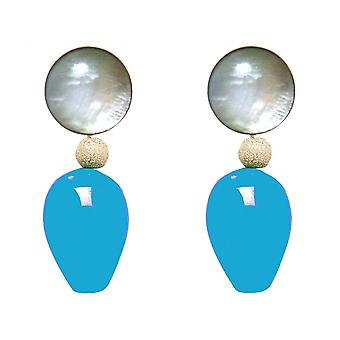Gemshine earrings with mother-of-pearl and blue jade gemstone drops - Gold plated
