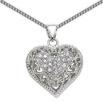 Jewelco London Rhodium Plaqué Sterling Silver Round Brilliant Cubic Zirconia Floral Love Heart Pendant Necklace 18 pouces