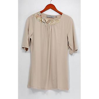 George Simonton Top Embellished Neckline Short Sleeve Beige A229337