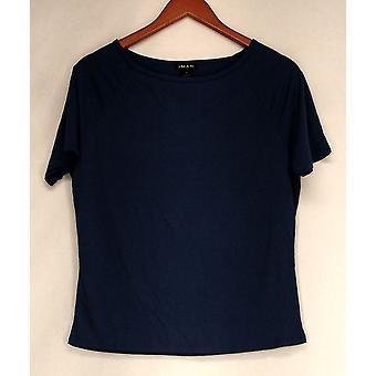Iman Top Slip Into Slim Short Sleeve Tee Blue Womens 460-386