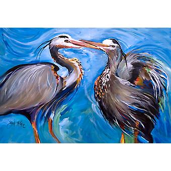 Carolines Treasures  JMK1011PLMT Blue Heron Love Fabric Placemat