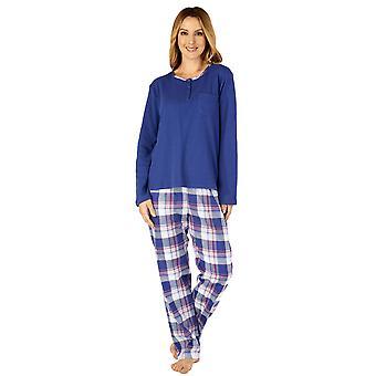 Slenderella PJ4218 Donne's tessuto Plaid Cotton Pyjama Set