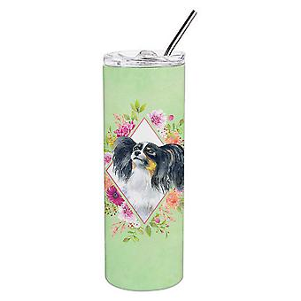 Papillon Green Flowers Double Walled Stainless Steel 20 oz Skinny Tumbler