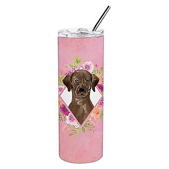 Chocolate Labrador Pink Flowers Double Walled Stainless Steel 20 oz Skinny Tumbl