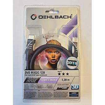 Oehlbach hoge snelheid HDMI-kabel met Ethernet 3 D 1,2 meter DVD Magic 120