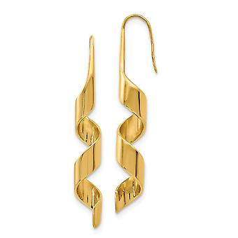 Stainless Steel Polished Shepherd hook Yellow IP plated Gold Pvd Plated Swirl Long Drop Dangle Earrings Jewelry Gifts fo