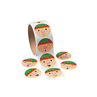 Roll of 100 Christmas Elf Face Stickers for Kids