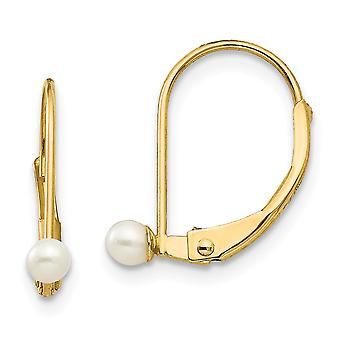 14k Yellow Gold Polished Leverback 3mm Freshwater Cultured Pearl for boys or girls Earrings Measures 13x4mm