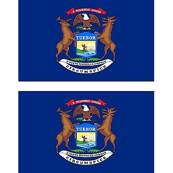 2 X Sticker Sticker Car Pc Vinyl Macbook Flag USA American Michigan