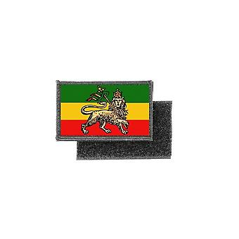 Patch ecusson imprime badge drapeau ethiopie lion rasta