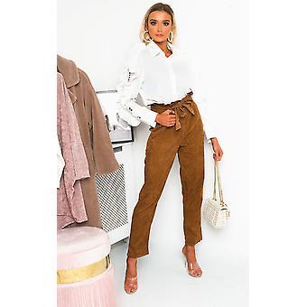IKRUSH Womens Saskia Straight Leg Belted Cord Trousers