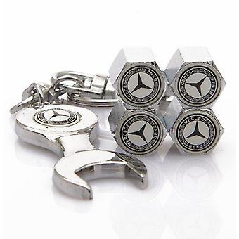 Set of 4 Chrome Anti-Theft Car Tyre Air Dust Valve Stem Cap With Keyring Spanner For Mercedes Benz