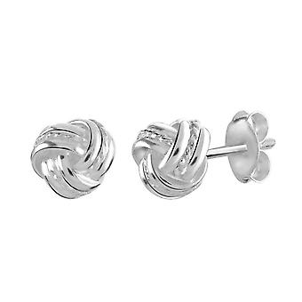 Dew Sterling Silver Etched Knot Stud Earrings 48234HP027