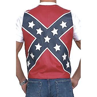 Menn ' s biker Rebel Flag svart skinn vest