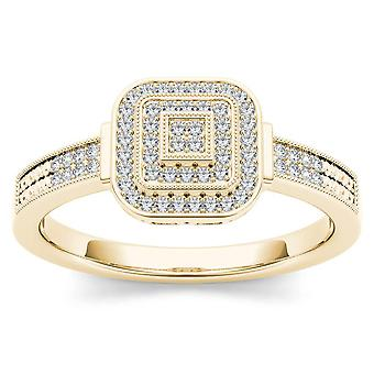 IGI Certified 10k Yellow Gold 0.25 Ct Diamond Halo Engagement Wedding Ring