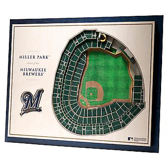 YouTheFan lemn decorare Wall stadion Milwaukee Brewers 43x33cm