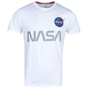 Alpha Industries vit reflekterande NASA T-shirt
