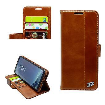Für Samsung Galaxy S8 PLUS Brieftasche Fall, Fierre Shann Rindsleder Lederbezug, braun