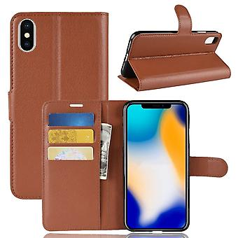 Pour iPhone XS MAX Cover,Folio Lychee Flip Leather Wallet Mobile Phone Case,Brown