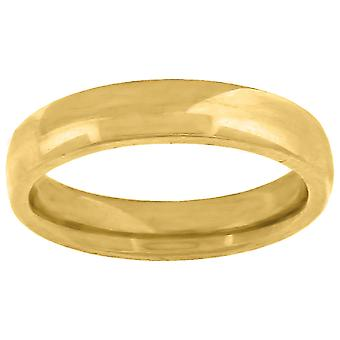 10k Yellow Gold Mens Womens Unisex Wedding Band Comfort Fit 4mm Jewelry Gifts for Men - Ring Size: 6 to 13