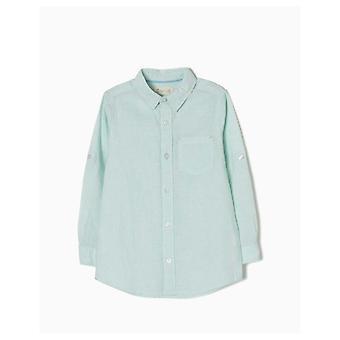 Zippy Pinstripe Green Linen Shirt