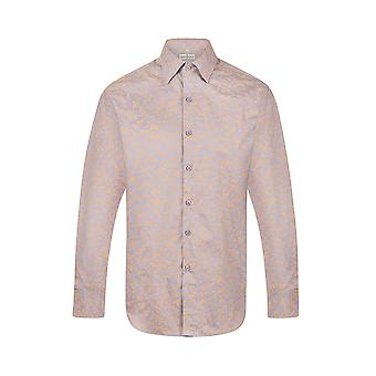 JSS Floral Blue & Gold Regular Fit 100% Cotton Shirt