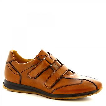 Leonardo Shoes Men's handmade casual shoes tan calf leather with strap closure
