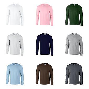 Gildan Mens planície gola Ultra algodão camiseta de manga longa