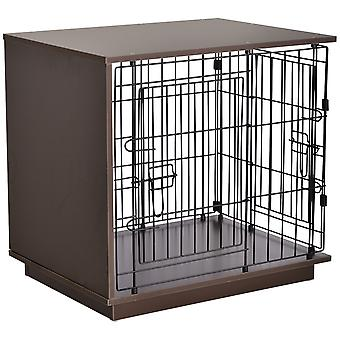 PawHut Duo Frame Dog Cage Half Crate w/ 2 Secure Doors Flat Top Elevated Base Small Animal Brown