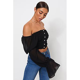 Pearl Button Crop Top