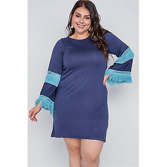 Boho navy plus size contrast crochet mini dress