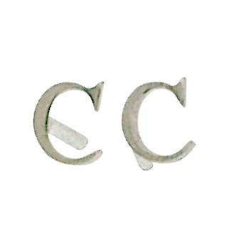 TOC Girls Sterling Silver Small Initial 'C' Stud Earrings