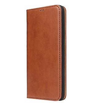 For iPhone XR tilfelle lær flip lommebok folio beskyttende deksel med stativ brun