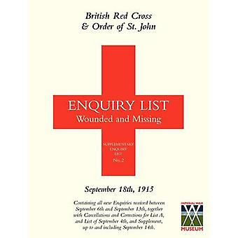 BRITISH RED CROSS AND ORDER OF ST JOHN ENQUIRY LIST FOR WOUNDED AND MISSING SEPTEMBER 18TH 1915 by Anon