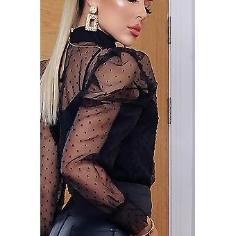 Lilly Polka Dot Puffed Sleeve Top - Ladies - Black