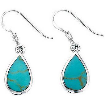 Beginnings Synthetic Turquoise Teardrop Drop Earrings - Turquoise/Silver