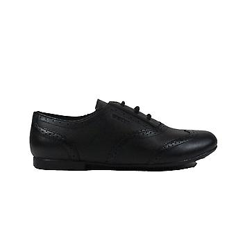 Geox Plie J8455E Black Leather Girls Lace Up Brogue School Shoes