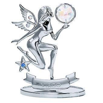 Crystocraft Virgo Zodiac Sign Crystal Ornament With Swarovski Elements Gift Boxed Aurora Borealis Crystals Silver Chrome Plated Perfect Keepsake Collectors Gift Figurine Home Decor Astrology