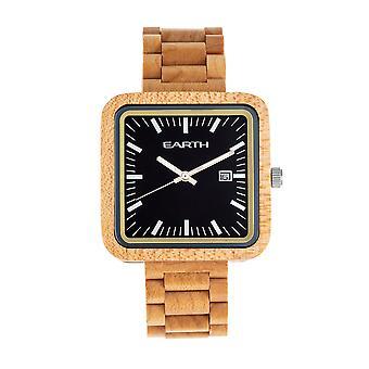 Reloj de pulsera Berkshire de madera de la tierra con fecha - Khaki/Tan