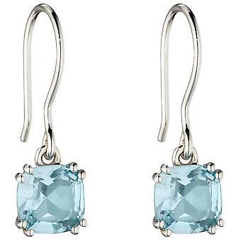 Elemente Silber Kissen Topas Ohrringe - Silber/Blau