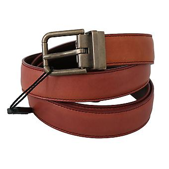 Dolce & Gabbana Red Leather Metal Gray Buckle Belt