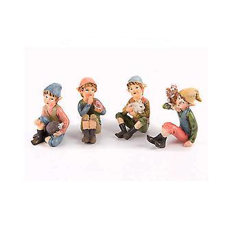 6.5cm Hars zittend Woodland Pixie Boy Karakter voor Miniatuur Tuin Ambachten