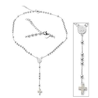 "ELANZA Cross Necklace Cubic Zirconia CZ Sterling Silver Size 16.5"", 0.46 Ct"