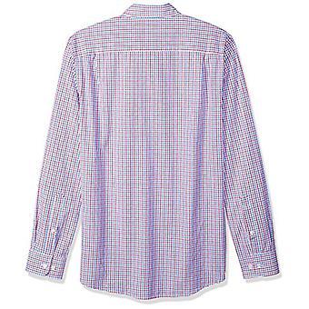 Essentials Menăs Slim-Fit Long-Sleeve Casual Poplin Shirt, Red/Blue Ta...